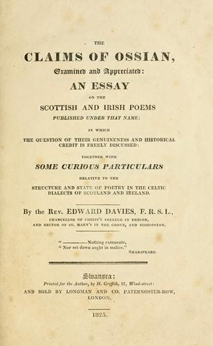Download The claims of Ossian examined and appreciated