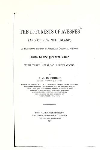 The De Forests of Avesnes (and of New Netherland)