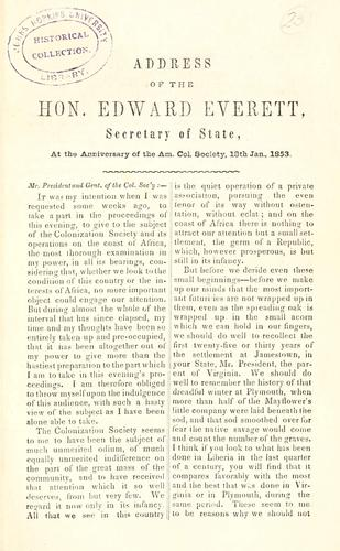 Address of the Hon. Edward Everett