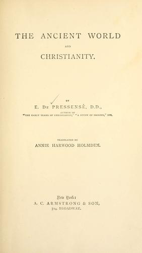 The ancient world and Christianity