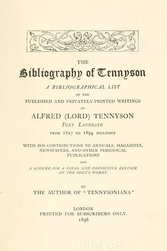 The bibliography of Tennyson