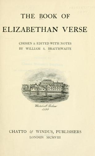The book of Elizabethan verse