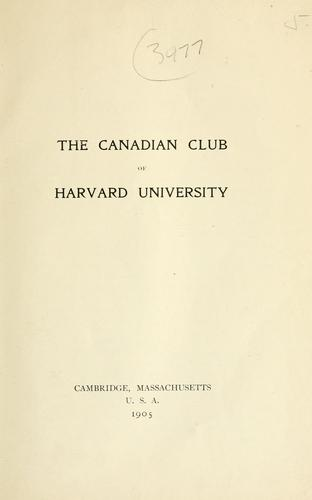 The Canadian Club of Harvard University.