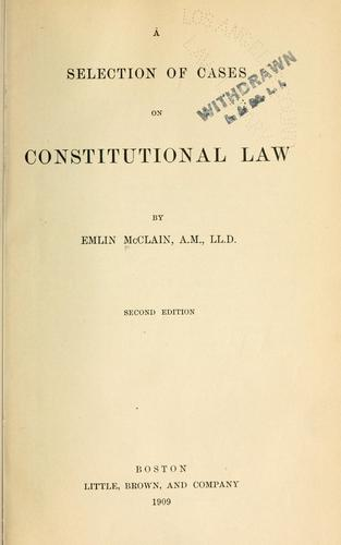 Download A selection of cases on constitutional law.