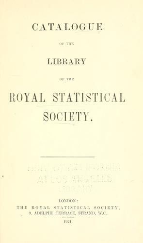 Download Catalogue of the library of the Royal Statistical Society.