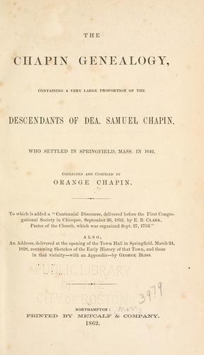 Download The Chapin genealogy