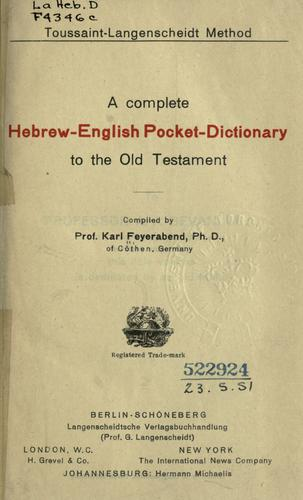 Download A complete Hebrew-English pocket-dictionary to the Old Testament.