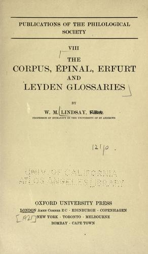 Download The Corpus, Épinal, Erfurt and Leyden glossaries