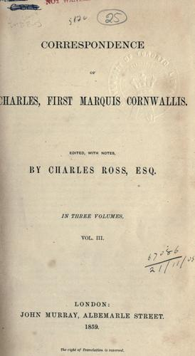 Download Correspondence of Charles, first Marquis Cornwallis