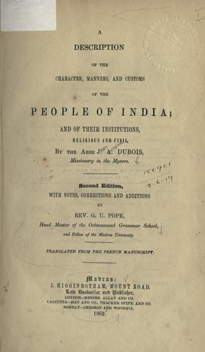 A description of the character, manners and customs of the people of India