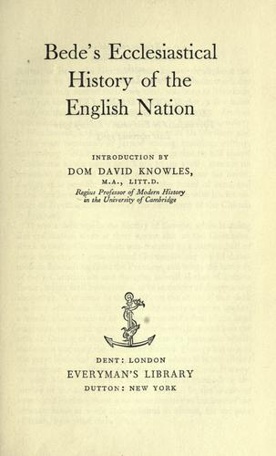 Ecclesiastical history of the English nation by Bede the Venerable, Saint