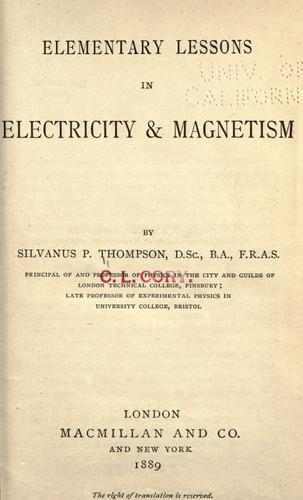 Download Elementary lessons in electricity & magnetism