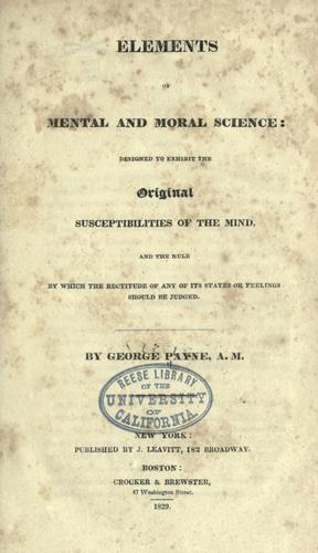 Elements of mental and moral science