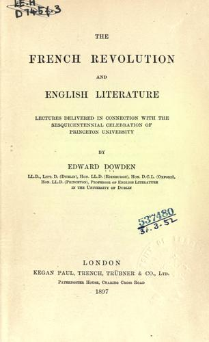 The French Revolution and English literature.