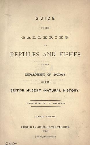 Download Guide to the galleries of reptiles and fishes in the Department of zoology of the British museum (Natural history)