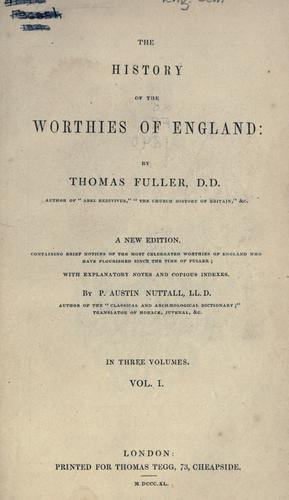 Download The history of the worthies of England