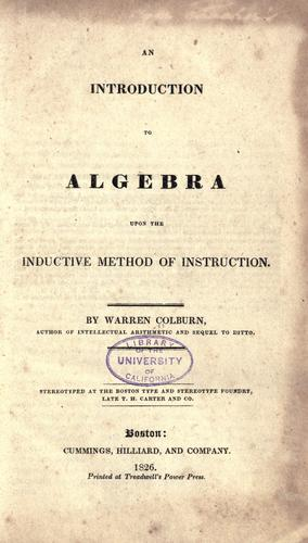 Download An introduction to algebra upon the inductive method of instruction