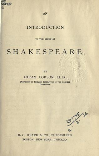 Download An introduction to the study of Shakespeare.