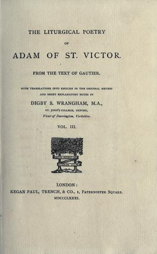 The liturgical poetry of Adam of St. Victor