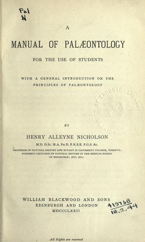 A manual of palæontology for the use of students