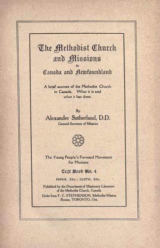 The Methodist Church and missions in Canada and Newfoundland