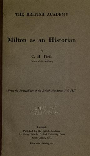 Download Milton as an historian.