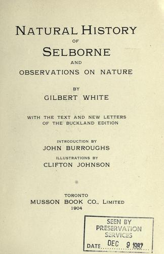 Natural history of Selborne, and observations on nature