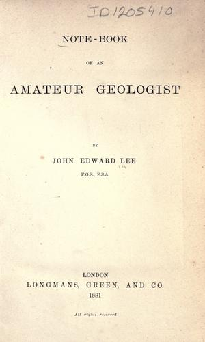 Download Note-book of an amateur geologist.