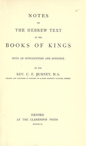 Download Notes on the Hebrew text of the books of Kings