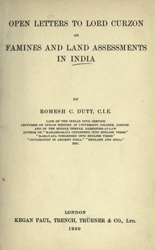 Download Open letters to Lord Curzon on famines and land assessments in India