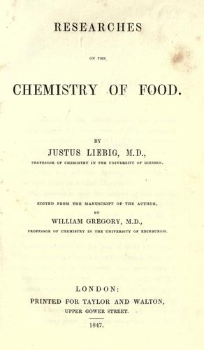 Download Researches on the chemistry of food