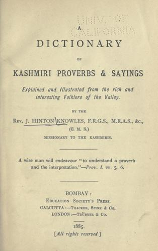 Download A dictionary of Kashmiri proverbs & sayings