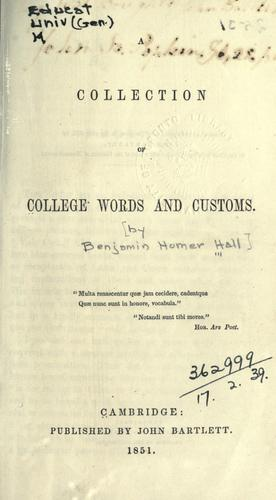 A collection of college words and customs.