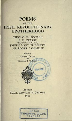 Poems of the Irish revolutionary brotherhood