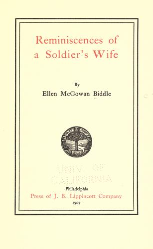 Download Reminiscences of a soldier's wife