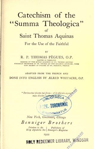 Download Catechism of the Summa theologica of Saint Thomas Aquinas