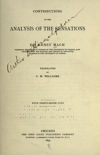 Download Contributions to the analysis of the sensations
