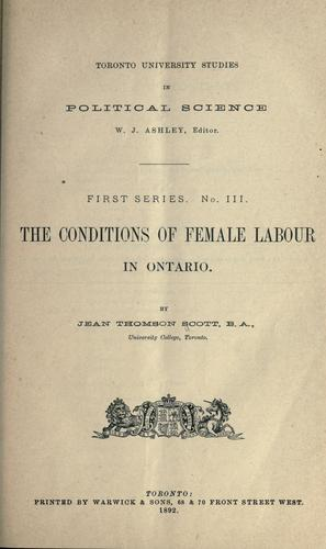 Download The conditions of female labour in Ontario.