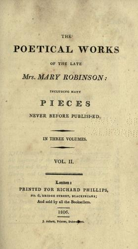 The poetical works of the late Mrs. Mary Robinson