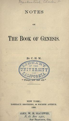 Download Notes on the book of Genesis