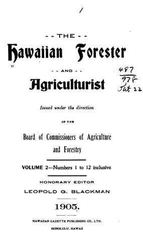 The Hawaiian Forester and Agriculturist by Leopold G. Blackman