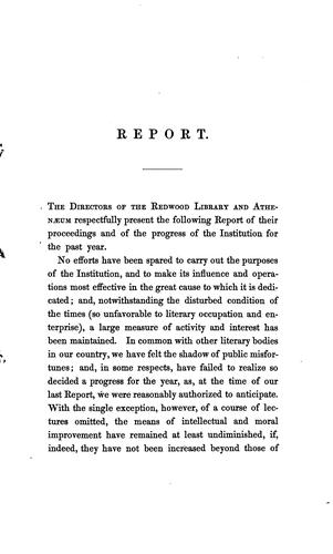 Annual Report of the Directors of the Redwood Library and Athenaeum by Redwood Library and Athenaeum