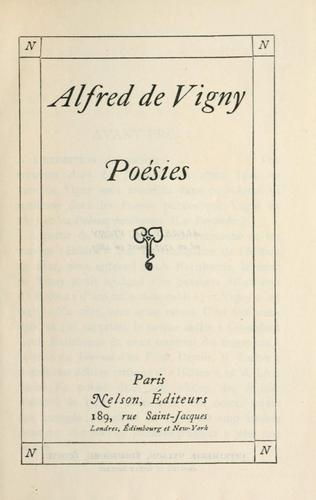 Poems by Alfred de Vigny