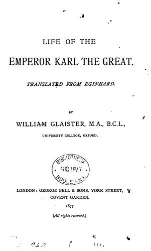 Life of the Emperor Karl the Great by EGINHARDUS