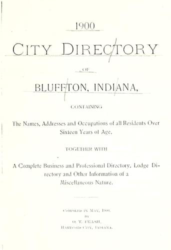 1900 city directory of Bluffton, Indiana by O. T. Frash