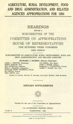Agriculture, Rural Development, Food and Drug Administration, and related agencies appropriations for 1994