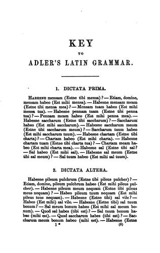 A Key to the Exercises Contained in Adler's Practical Grammar of the Latin Language by George J. Adler
