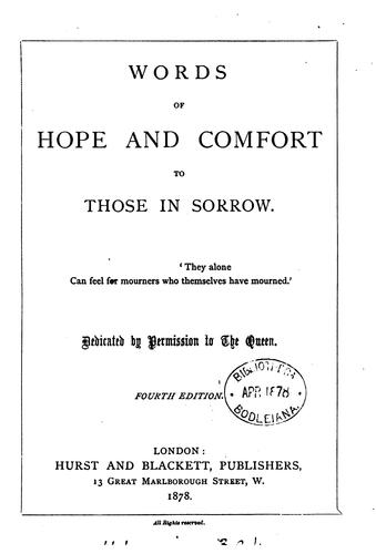 Words of hope and comfort to those in sorrow [by J.E. Hare, ed. by L.Y. Powell] by J Esther Hare