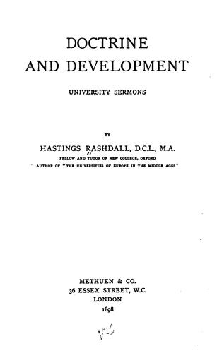 Doctrine and Development: University Sermons by Hastings Rashdall