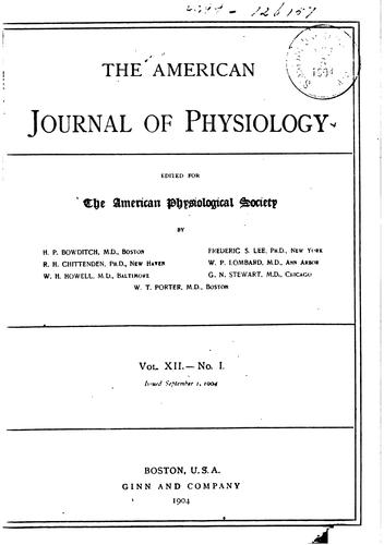 American Journal of Physiology by American Physiological Society (1887- )
